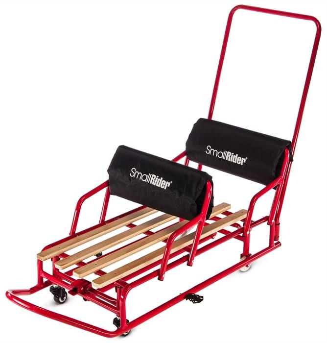Детские санки-трансформер для двойни с колесиками и толкателем Small Rider Snow Twins 2 красный - фото 6948