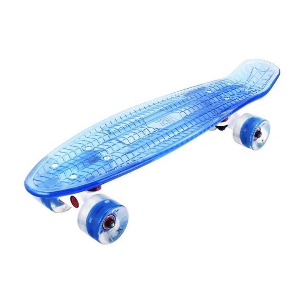 """Скейтборд прозрачный Playshion 22"""" FS-PS002 со светящимися колесами синий - фото 7421"""