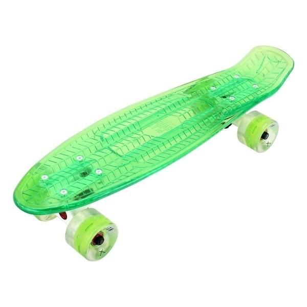 "Скейтборд прозрачный Playshion 22"" FS-PS002 со светящимися колесами зеленый - фото 7444"
