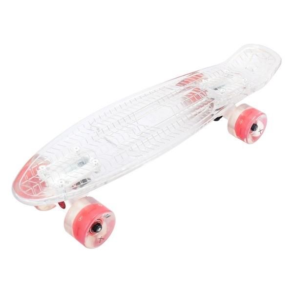 """Скейтборд прозрачный Playshion 22"""" FS-PS002 со светящимися колесами - фото 7474"""