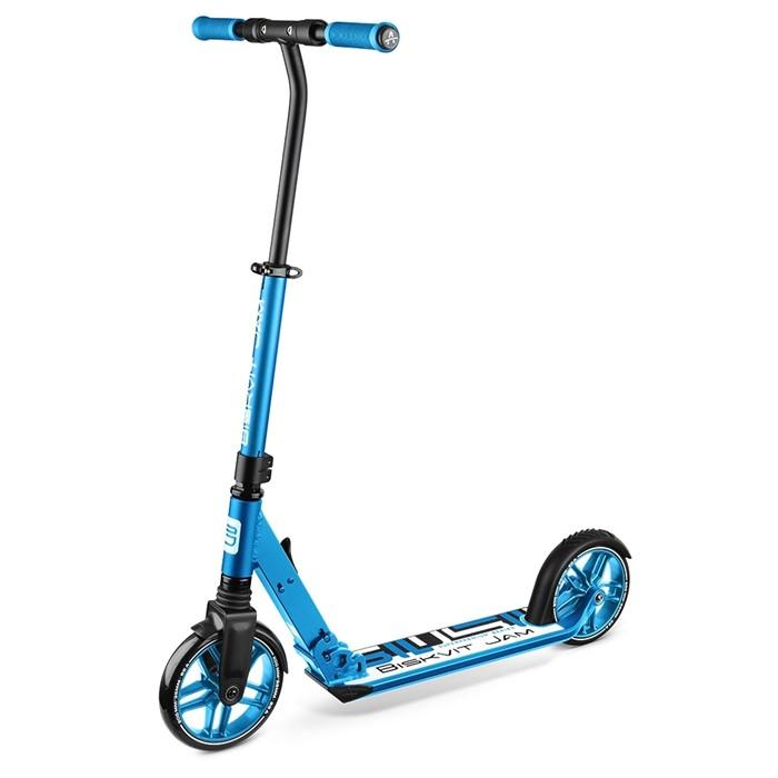 Элитный самокат с большими колесами и амортизатором Biskvit Jam Super-Premium 1 синий - фото 8339