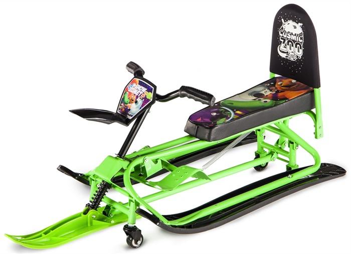 Детский снегокат-трансформер с колесиками и спинкой Small Rider Snow Comet 2 зеленый - фото 8588
