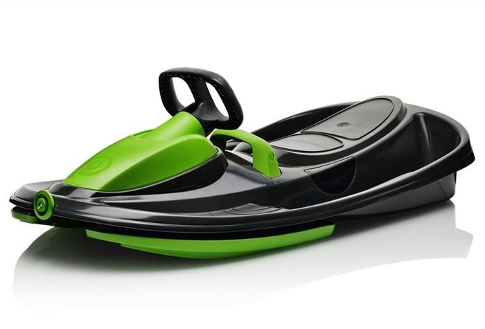 Детские пластиковые санки-снегокат c рулем и тормозом Gismo Riders Stratos черно-зеленый - фото 8620