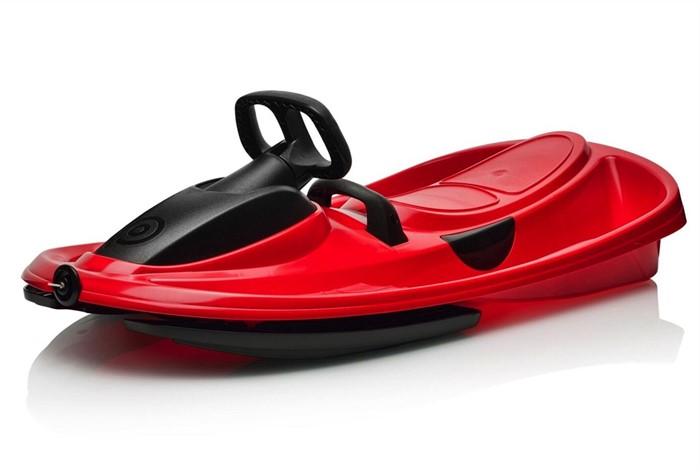 Детские пластиковые санки-снегокат c рулем и тормозом Gismo Riders Stratos красный - фото 8661