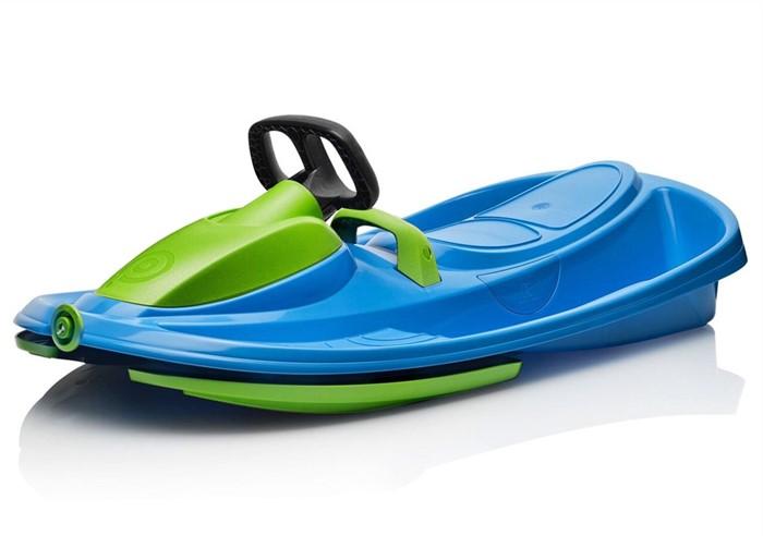 Детские пластиковые санки-снегокат c рулем и тормозом Gismo Riders Stratos сине-зеленый - фото 8678