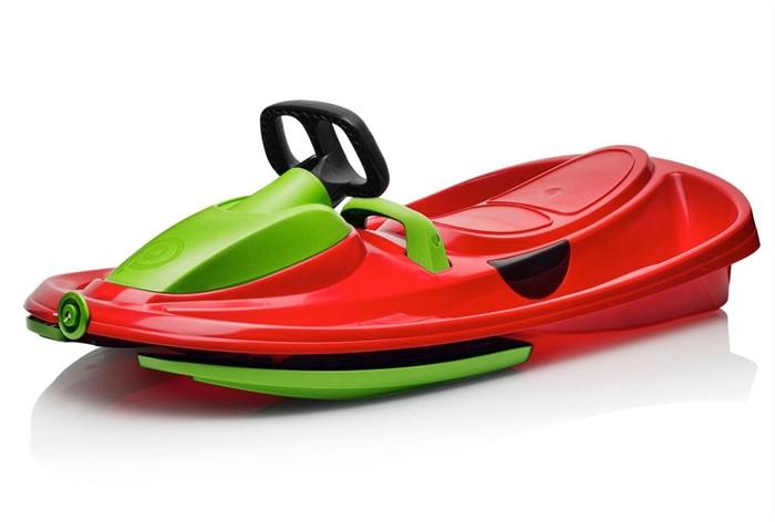 Детские пластиковые санки-снегокат c рулем и тормозом Gismo Riders Stratos красно-зеленый - фото 8687