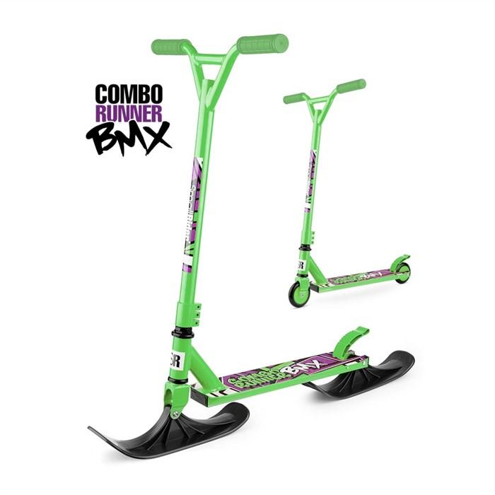 Трюковый самокат-снегокат с лыжами и колесами Small Rider Combo Runner BMX зеленый - фото 8820