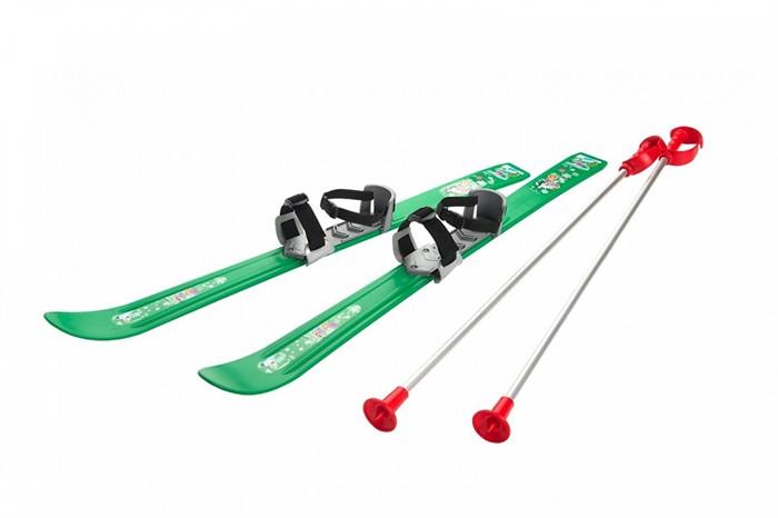 Детские лыжи с палками и креплениями Gismo Riders Baby Ski, 90 см (Чехия) зеленые - фото 8848