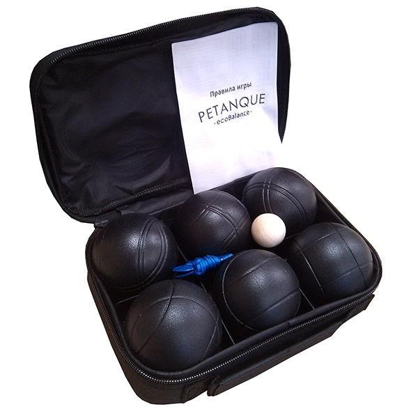 Набор для игры в петанк, 6 шаров черный - фото 9157