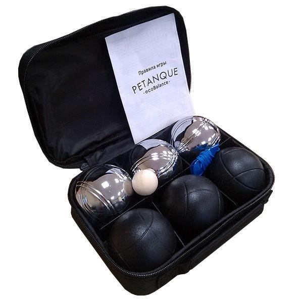 Набор для игры в петанк, 6 шаров черный и стальной - фото 9360