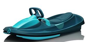 Детские пластиковые санки-снегокат c рулем и тормозом Gismo Riders Stratos синий титан