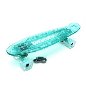 """Скейт 22"""" светящийся Triumf Active бирюзовый TLS-403 Mint"""