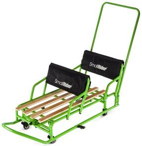 Детские санки-трансформер для двойни с колесиками и толкателем Small Rider Snow Twins 2 зеленый