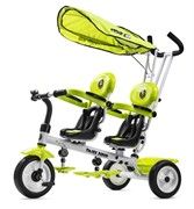 Трехколесный велосипед для двоих детей, двойни, погодков Small Rider Twins (CZ) лайм