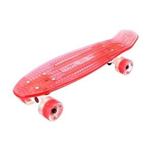 """Скейтборд прозрачный Playshion 22"""" FS-PS002 со светящимися колесами красный"""