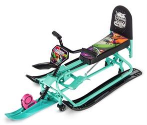 Детский снегокат-трансформер с колесиками и спинкой Small Rider Snow Comet 2 аква