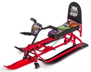 Детский снегокат-трансформер с колесиками и спинкой Small Rider Snow Comet 2 красный