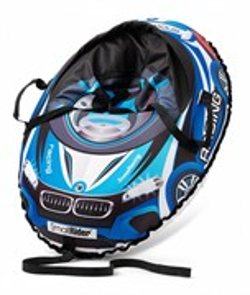 Надувные санки-тюбинг с сиденьем и ремнями BMW Snow Cars 3 синий