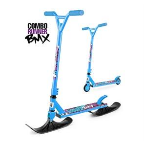 Трюковый самокат-снегокат с лыжами и колесами Small Rider Combo Runner BMX синий