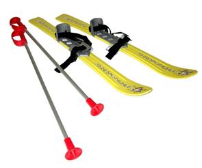 Детские лыжи с палками и креплениями Gismo Riders Baby Ski, 90 см (Чехия) желтые