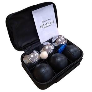 Набор для игры в петанк, 6 шаров черный и стальной