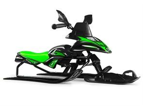Снегокат-снегоход Small Rider Scorpion SOLO одна лыжа спереди черный с зеленым