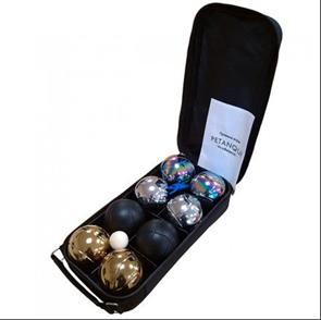 Набор для игры в петанк, 8 шаров, стальной + золотой + черный + радужный